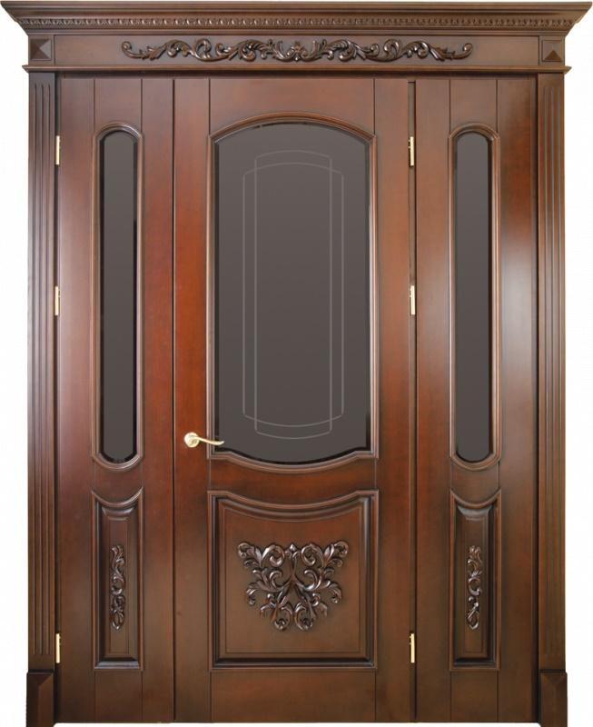 дубовые распашные входные двери со стеклом цены