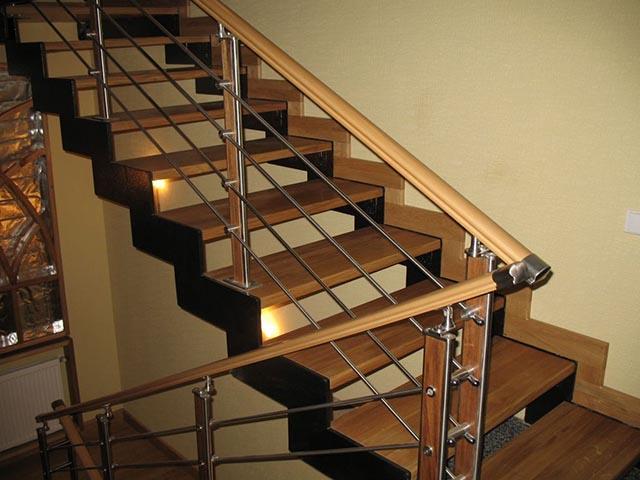 Фото лестницы комбинированной дерево
