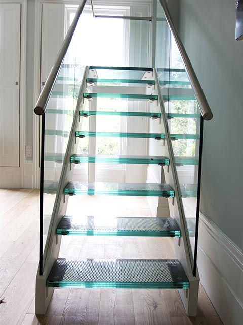 Лестница комбинированная стекло хром