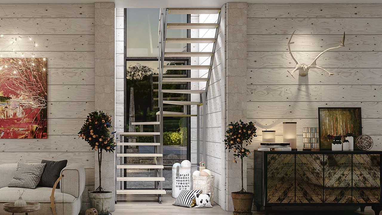 Купить готовую лестницу в узкий проём